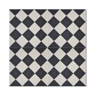 Pack of 12 Rabat Black and White Handmade Cement and Granite 8-inch x 8-inch Floor and Wall Tile (Morocco)