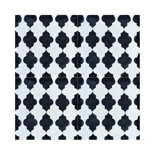 Pack of 12 Tafrout Black and White Handmade Cement and Granite 8-inch x 8-inch Floor and Wall Tile (Morocco)