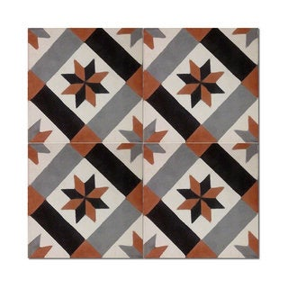 Pack of 12 Tantan Handmade Cement and Granite 8-inch x 8-inch Floor and Wall Tile (Morocco)