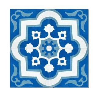 Pack of 12 Taza Blue Handmade Cement and Granite 8-inch x 8-inch Floor and Wall Tile (Morocco)