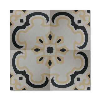 Pack of 12 Sevia Gold Handmade Cement and Granite 8-inch x 8-inch Floor and Wall Tile (Morocco)