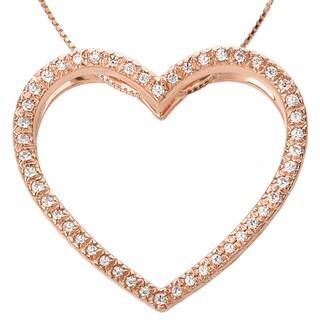 Avanti 14k Rose Gold 1/6ct TDW Diamond Heart Necklace (G-H, SI1-SI2)