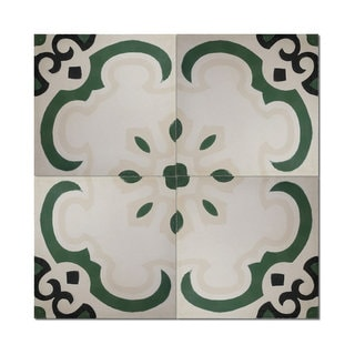 Pack of 12 Sevia Green Handmade Cement and Granite 8-inch x 8-inch Floor and Wall Tile (Morocco)