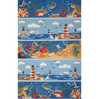 Sea World Blue Hand-hooked Cotton Rug (4' x 6')