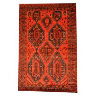 Herat Oriental Afghan Hand-knotted Semi-antique Tribal Balouchi Red/ Blue Wool Rug (6'6 x 9'11)