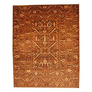 Herat Oriental Semi-antique Afghan Hand-knotted Tribal Balouchi Brown/ Ivory Wool Rug (6'11 x 8'7)
