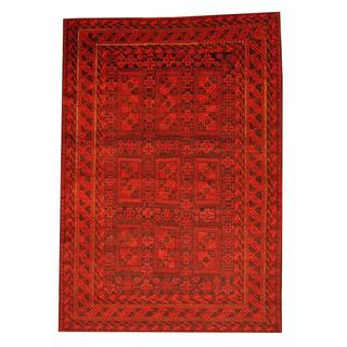 Herat Oriental Semi-antique Afghan Hand-knotted Tribal Balouchi Red/ Ivory Wool Rug (6'6 x 9'3)