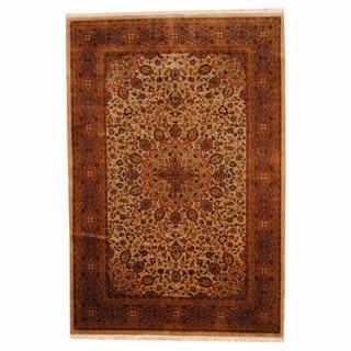 Herat Oriental Indo Hand-knotted Tabriz Beige/ Rust Wool Rug (6' x 8'10)