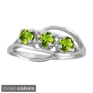 10k White Gold 3-stone Birthstone Ring