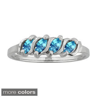 10k White Gold Marquise-set Birthstone Ring