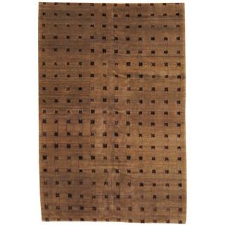 Herat Oriental Tibetan Hand-knotted Grey/ Brown Wool and Silk Rug (6' x 9')