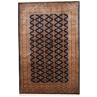 Herat Oriental Pakistani Hand-knotted Bokhara Navy/ Beige Wool Rug (6'1 x 9'1)