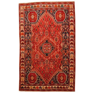 Herat Oriental Turkish Hand-knotted Tribal Kurdish Red/ Navy Wool Rug (5'5 x 8'7)
