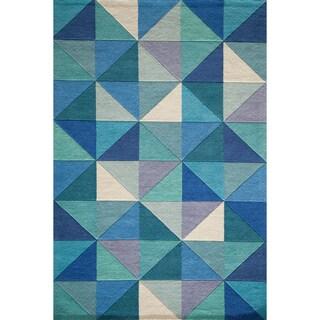 "Cosmopolitan Diamonds Blue Hand-tufted Wool Rug (3'6"" x 5'6"")"