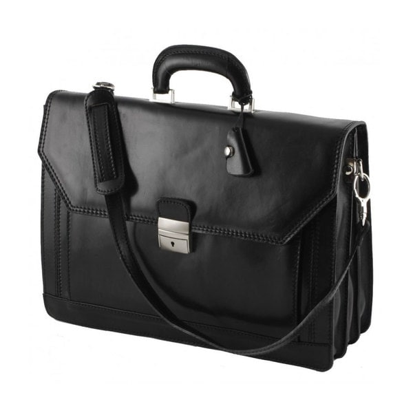 D & P Milan Black Leather Business Briefcase