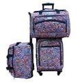 Chocolate New York Splash 3-piece Carry On Spinner Luggage Set