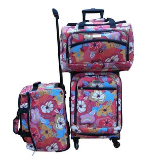 Chocolate New York Bright Flower 3-piece Carry On Spinner Luggage Set