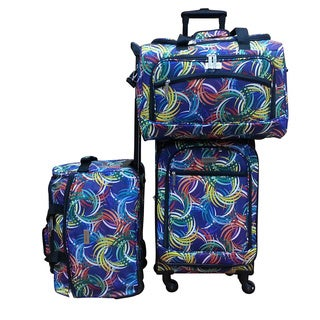 Chocolate New York Swirl 3-piece Carry On Spinner Luggage Set