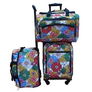 Chocolate New York Sunshine 3-piece Carry On Spinner Luggage Set