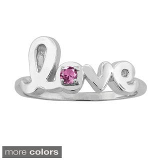 10k Gold Round-cut Birthstone Love Ring