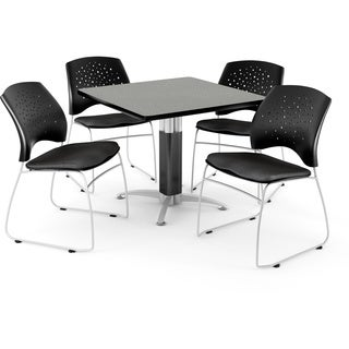 OFM Square Grey Nebula Laminate Table with 4 Chairs