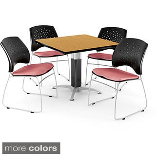 OFM Square Oak Laminate Table with 4 Chairs