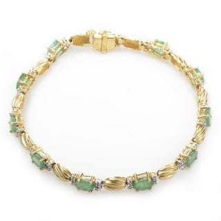 14k Yellow Gold Diamond and Emerald Tennis Bracelet