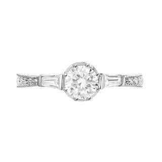 Sterling Silver Moissanite and Diamond .25ct TDW Engagement Ring (G-H, SI1-SI2)