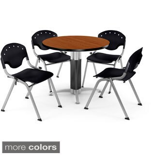 OFM Round Cherry Laminate Table with 4 Chairs