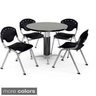 OFM Round Grey Nebula Laminate Table with 4 Chairs