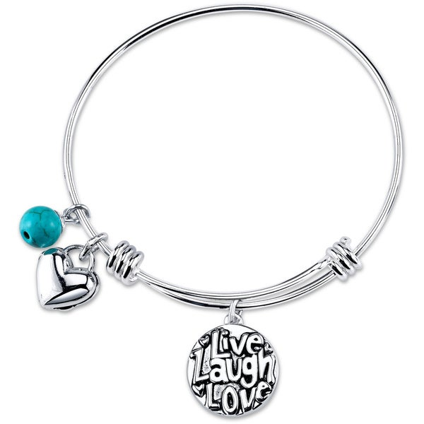 Shine 'Live Laugh Love' Stainless Steel Expandable Bangle