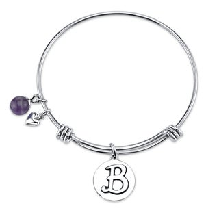 Shine 'Initial B' Stainless Steel Expandable Bangle