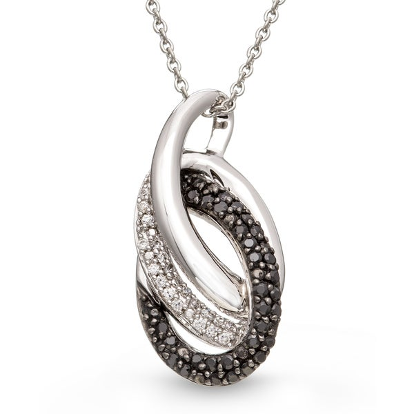 Sterling Silver Black White Diamond Accent Looping Pendant