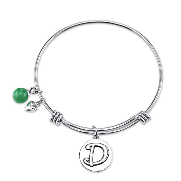 Shine Stainless Steel Letter D Expandable Bangle