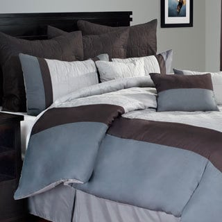 Lavish Home 10-piece Grey/ White Hotel Comforter Set