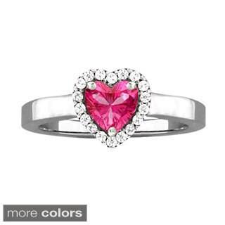 10k White Gold Round-cut Designer White Zircon and Birthstone Ring