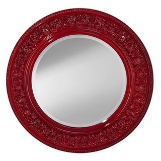 Crimson Lacquer Round Mirror
