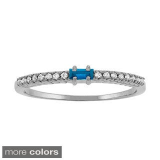 10k White Gold Baguette-cut Designer Birthstone Ring