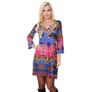 White Mark Women's 'Madelyn' Rainbow Snake Print Dress
