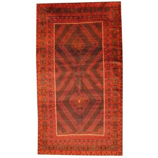 Herat Oriental Semi-antique Afghan Hand-knotted Tribal Balouchi Rust/ Brown Wool Rug (6'4 x 11'1)
