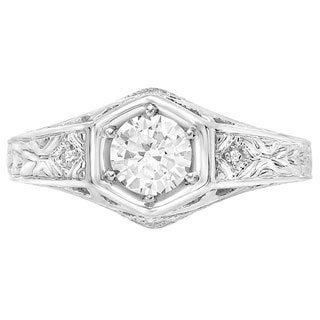 Sterling Silver Round-cut Moissanite Diamond Accent Engagement Ring