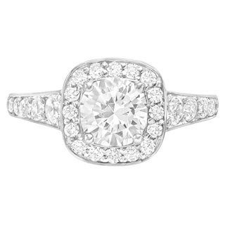 Sterling Silver 3/4ct TDW White Diamond Moissanite Engagement Ring (G-H, SI1-SI2)
