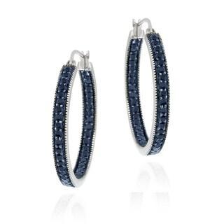 DB Designs Sterling Silver 7/8ct TDW Blue Diamond Hoop Earrings (I2-I3)