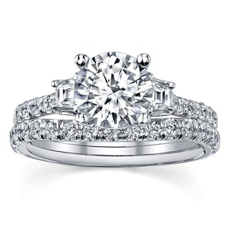 18k White Gold 1 1/3ct TDW EGL-certified Diamond Bridal Ring Set (I-J, SI2-SI3)