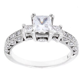 Tacori Platinum 1/2ct TDW Diamond and CZ Engagement Ring (G-H, VS1-VS2)