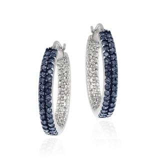 DB Designs Sterling Silver 4/5ct TDW Blue Diamond Hoop Earrings (I2-I3)