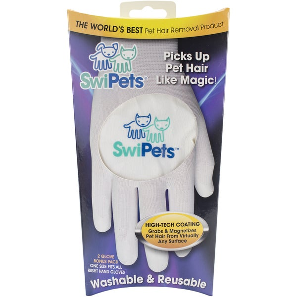 Swipets White Hair Cleaning Glove 2/Pk