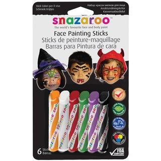 Snazaroo Face Painting Sticks 6/Pkg-Orange, White, Red, Green, Purple, Black