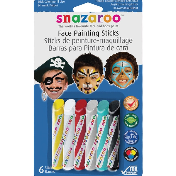 Snazaroo Face Painting Sticks 6/Pkg-Yellow,White,Red,Silver,Turquoise,Black