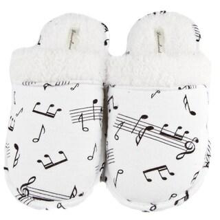 Leisureland Women's Music Note Print Cotton Flannel Slippers